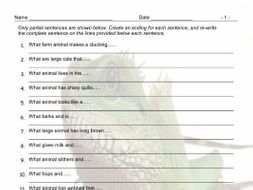 Animals Sentence Finishers Worksheet