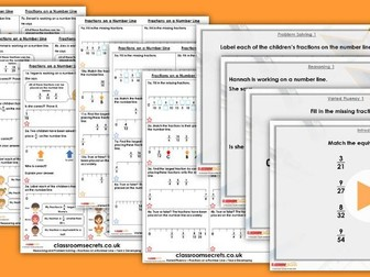 Year 6 Fractions on a Number Line Autumn Block 3 Step 2 Maths Lesson Pack