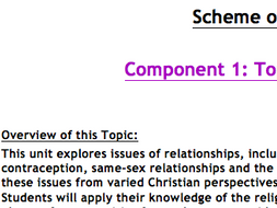 Eduqas Religious Studies Component 1 Relationships FULL SCHEME OF LEARNING WITH RESOURCES