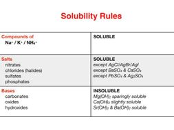 Chemistry Solubility Rules