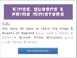 British Kings, Queens and Prime Ministers Quiz
