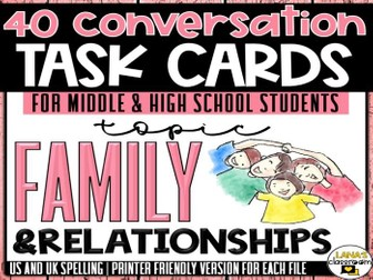 Conversation Starter Cards | Family | Social Skills for Middle&High
