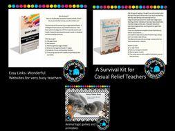 Survival Kit for Relief Teachers, Easy Links Wonderful Websites for very busy teachers, Animal Logic bundle