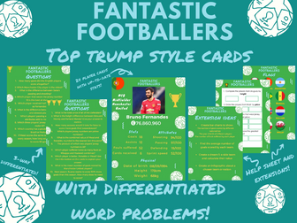 UKS2 Maths football Top Trump style cards with activities