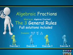 Algebraic Fractions Animated PowerPoint +  exercises, full solutions, Handout  GCSE