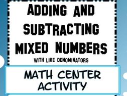 Fractions : Adding and Subtracting Mixed Numbers with Like Denominators