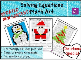 Christmas Maths Solving Linear Equations Math Art Worksheets