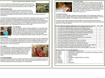 How do the Royal family celebrate Christmas? -  Informational Text Reading & Comprehension Exercises