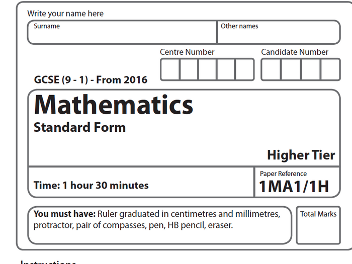 GCSE Standard Form Exam Paper by theeducationspecialist - Teaching ...