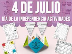 Cuatro de Julio - Día de la Independencia - Actividades SPANISH VERSION