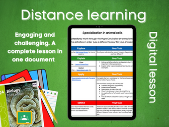 SB1.4 Specialisation in animal cells Distance learning (AQA GCSE Bio)