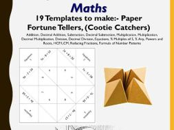Maths Paper Fortune Tellers, (Cootie Catchers)