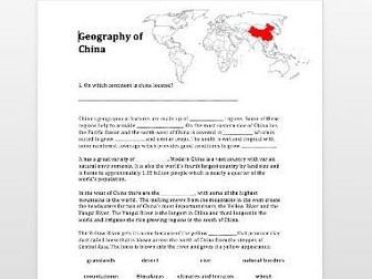 Geography of Ancient China Activity
