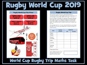 Rugby World Cup 2019 Trip - Maths Task