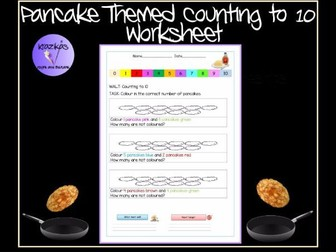 Pancake Themed Counting to 10 Worksheet