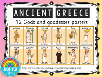 Ancient Greece Gods and Goddesses POSTERS