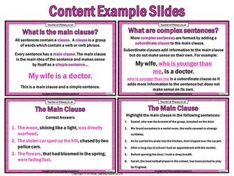 The Main Clause (Powerpoint with Worksheets)
