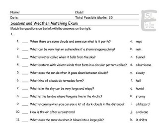 Seasons-Weather Matching Exam