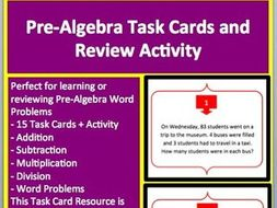 Pre-Algebra Word Problem Task Cards and UNIQUE Activity