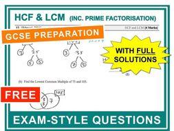 GCSE 9-1 Exam Question Practice (HCF + LCM)