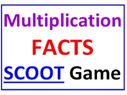 Multiplication Facts SCOOT Game (30 cards, grid, COMPLETE Lesson plan and answers included)