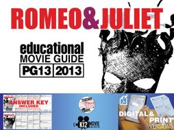Romeo and Juliet Movie Guide | Questions | Worksheet (PG13 - 2013)