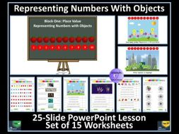 Representing Numbers With Objects: PowerPoint Lesson and 15 Worksheets