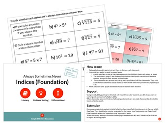 Indices (Foundation) (Always, Sometimes Never)