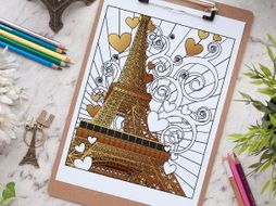 Paris Eiffel Tower Coloring Page Advanced Coloring Page For Adults