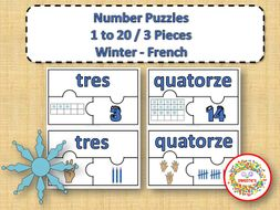 Number Puzzles 1 - 20 - Winter Theme - 3 Puzzle Pieces - French - Les Nombres