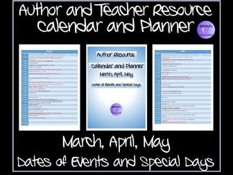 TES Authors' Calendar and Planner- Special Events and Days - April, May, June 2017