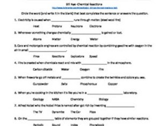 Bill Nye: Chemical Reactions Video Sheet