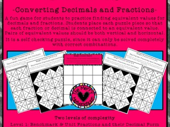 Magic Puzzle Boards Equivalent Decimals and Fractions