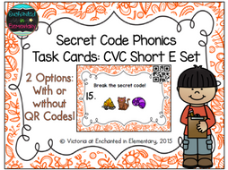 Secret Code Phonics Task Cards: CVC Short E Set