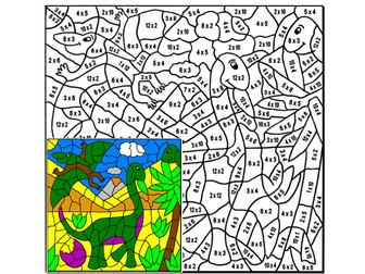 Dinosaur Times Tables Colouring Puzzle