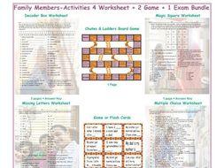 Family Members-Activities 4 Worksheet-2 Game-1 Exam Bundle