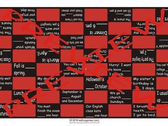 Prepositions of Time Checker Board Game