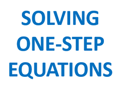 Solving 1-Step Equations