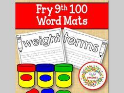 Sight Word Mats:  Fry 9th 100 Word Mats – Black and White