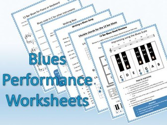 Blues performance worksheets and cover lesson