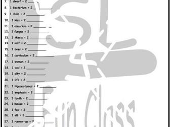 Irregular Plural Nouns 1 Page BW Worksheet