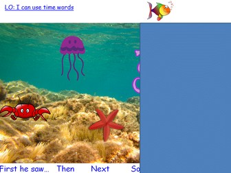 Combine words to make sentences and sequence sentences to form short narratives - Little fish theme