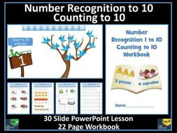 Counting to 10 and Number Recognition : PowerPoint Lesson and Work Sheets