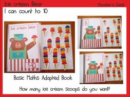 "Basic Maths Adapted Book ""How many ice cream scoops do you want?"