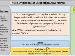 8. The Significance of Elizabethan Adventurers-OCR GCE J411 9-1 The Elizabethans 1580-1603 Section 5