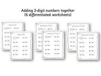 Maths: Adding 2 2-digit numbers - 10 differentiated worksheets Year 2 / Year 3