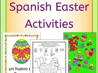 Spanish Easter Activities Puzzles and Cards
