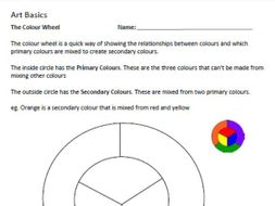 Art Basics Colour Wheel Worksheet Middle School By Kellyocs