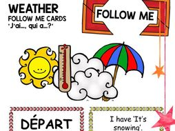French Follow Me Card Game: Weather Quel temps fait-il?