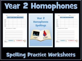 Homophones: Year 2 - Spellings